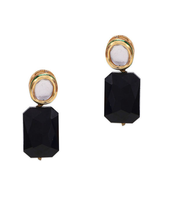 Kalista Kundan and Black Crystal Studs
