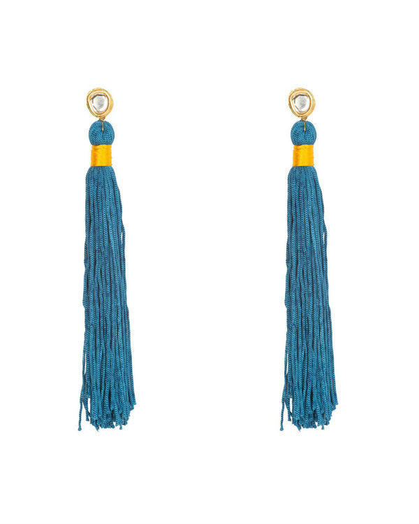 Bali Blue Silk Tassel Earrings