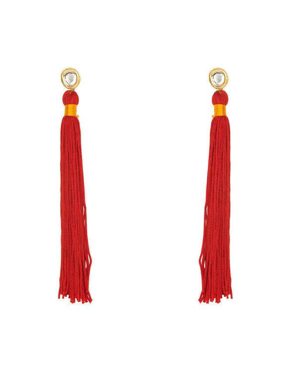 Brick Red Silk Tassel Earrings