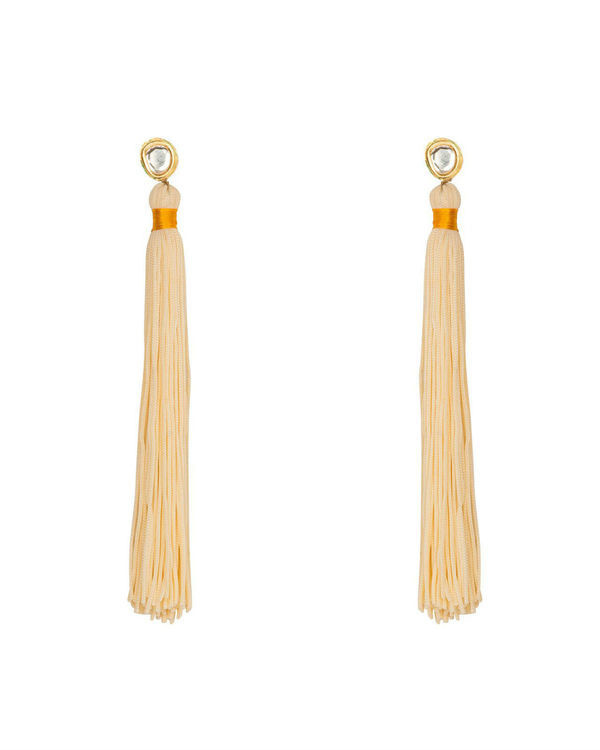 Dream Cream Silk Tassel earrings