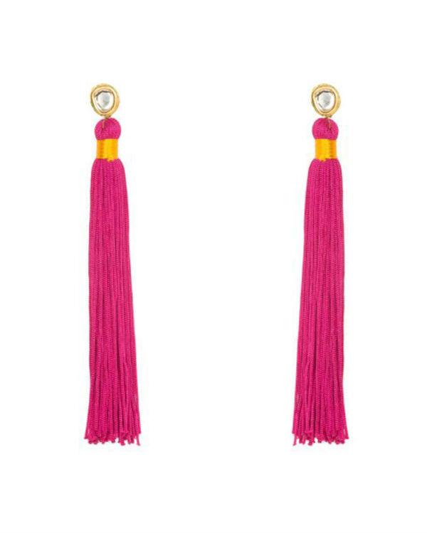 Plum Pink Silk Tassel earrings