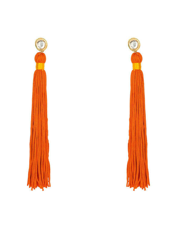 Saffron Orange Silk Tassel Earrings
