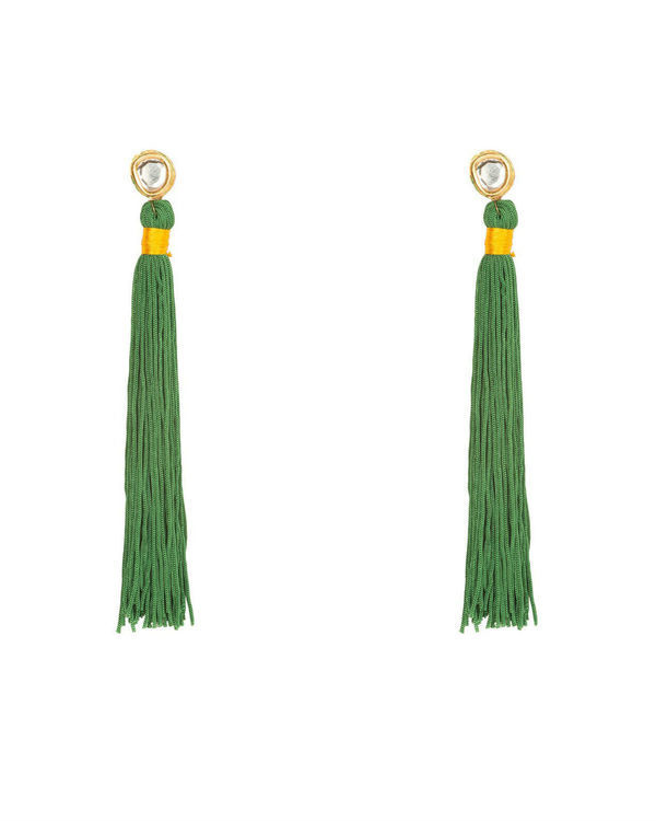 Forest Green Silk Tassel Earrings
