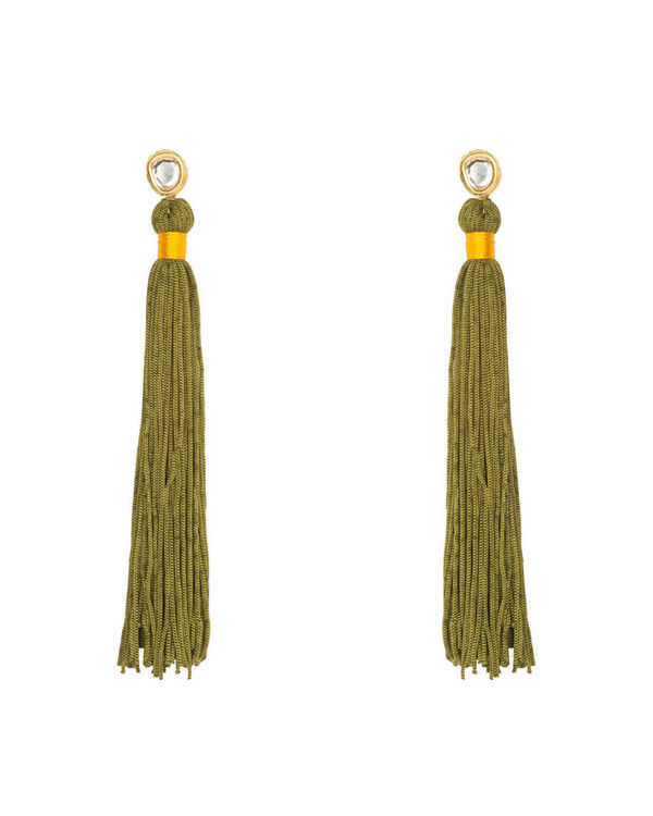 Olive Green Silk Tassel Earrings