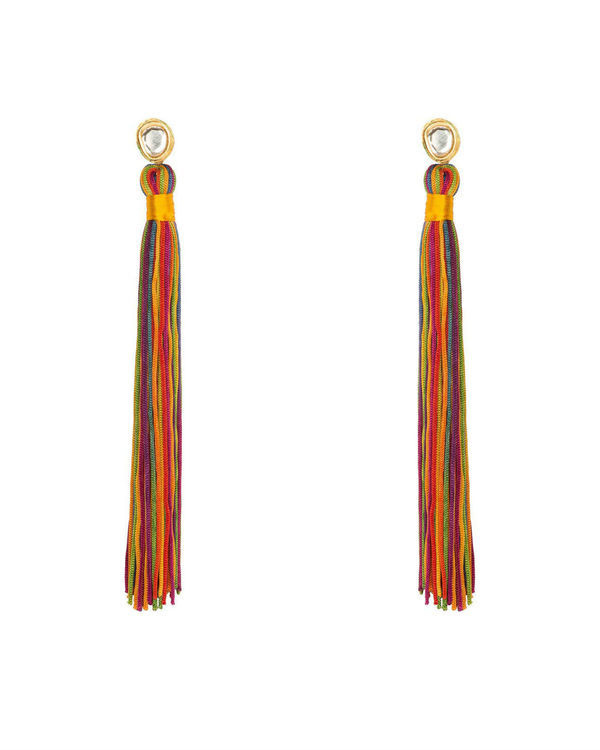Rainbow Silk Tassel Earrings