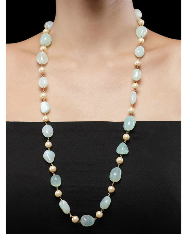 Pearls and Mint Green Natural Stones String