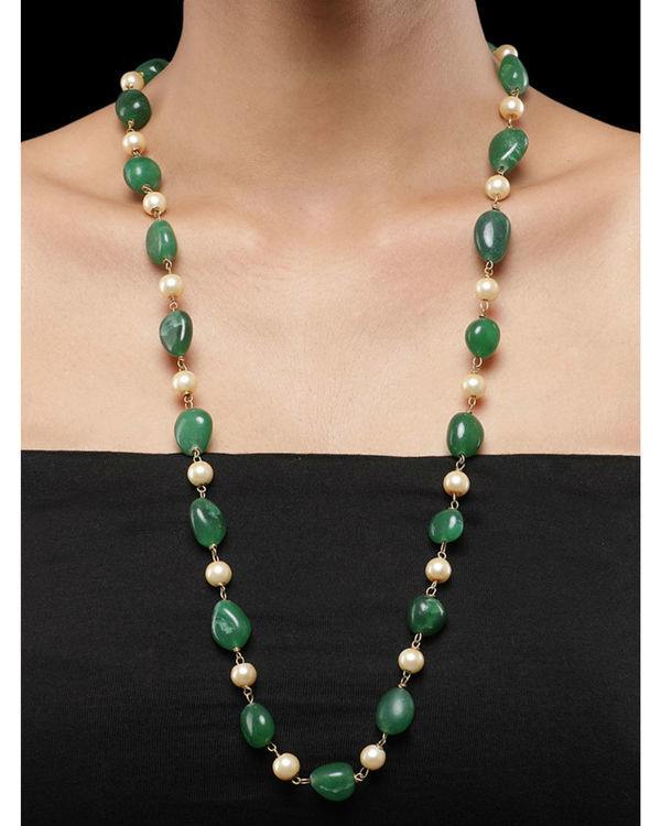 Pearls and Green Natural Stones String