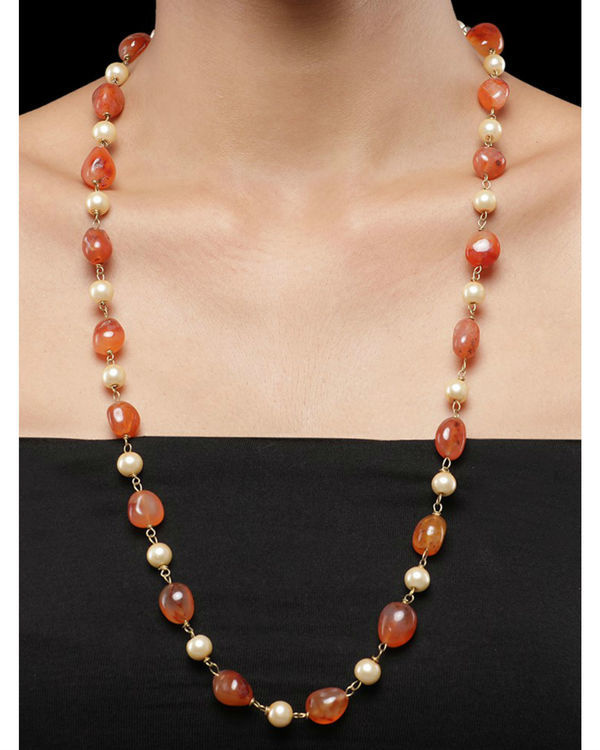 Pearls and Orange Natural Stones String