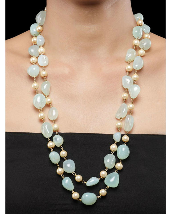 Pearls and Mint Green Stones Double String