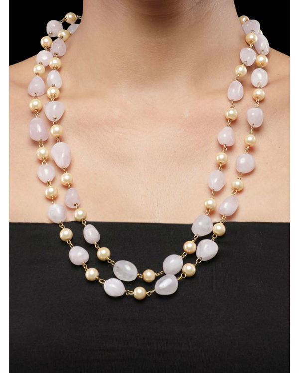 Pearls and Light Pink Natural Stones Double String