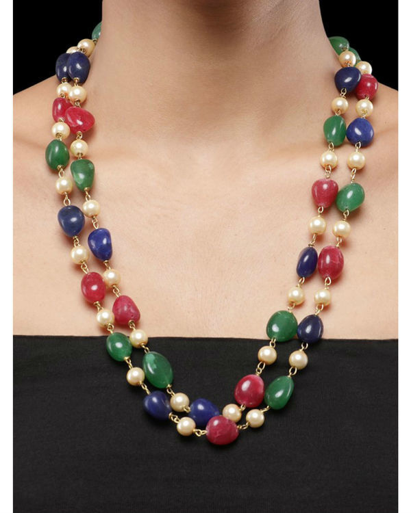 Pearls and Multicoloured Natural Stones Double String