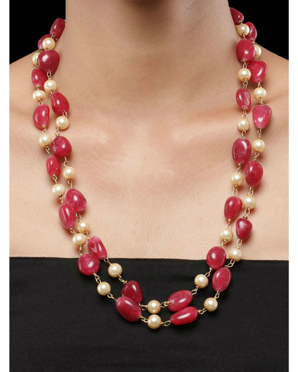 Pearls and Red Natural Stones Double String