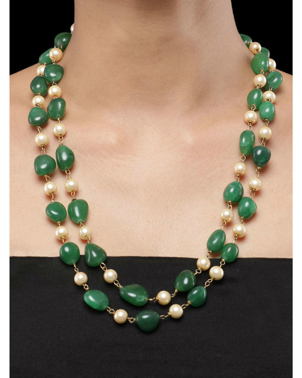 Pearls and Green Natural Stones Double String