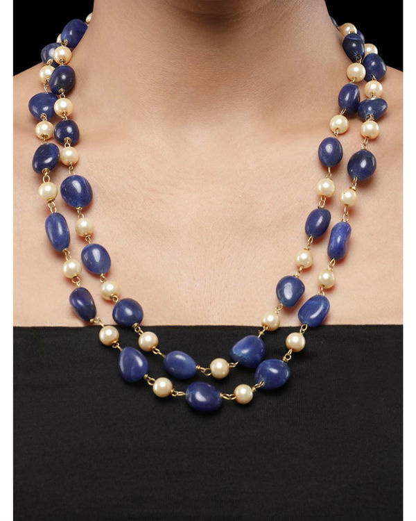 Pearls and Blue Natural Stones Double String