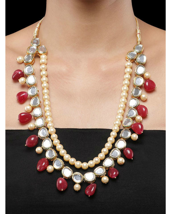 Kundan and Red Natural Stones Necklace