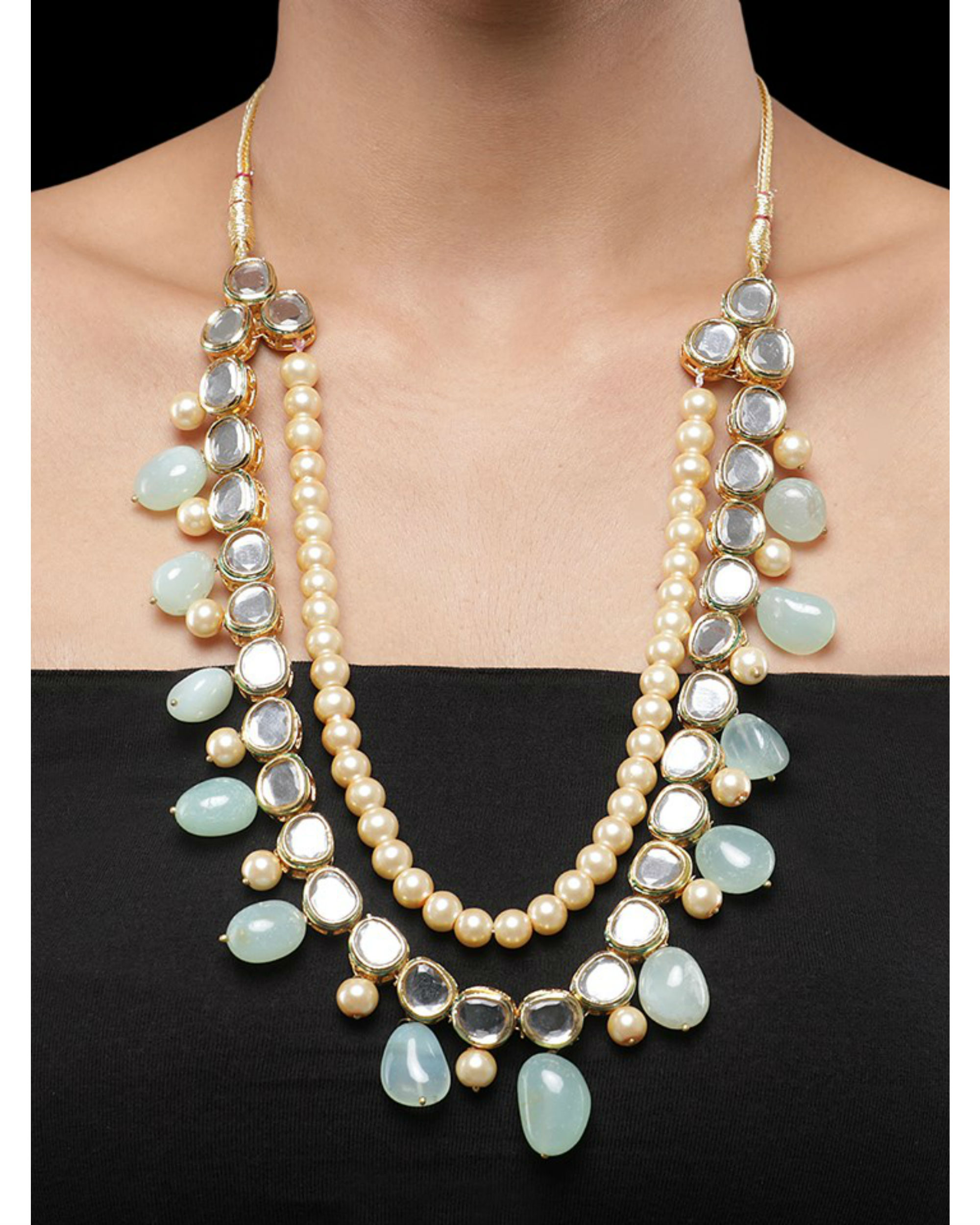 Kundan and Mint Green Natural Stones Necklace