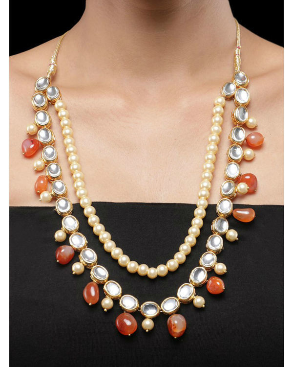 Kundan and Orange Natural Stones Necklace