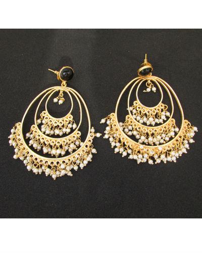 Black Stud Layered Pearl Earrings