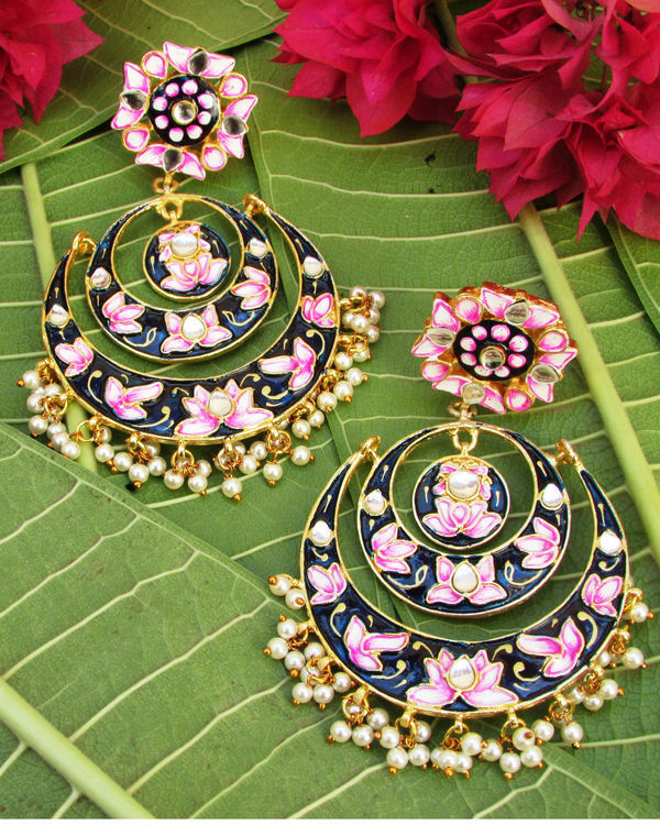 Pink and Navy Blue Lotus Earring