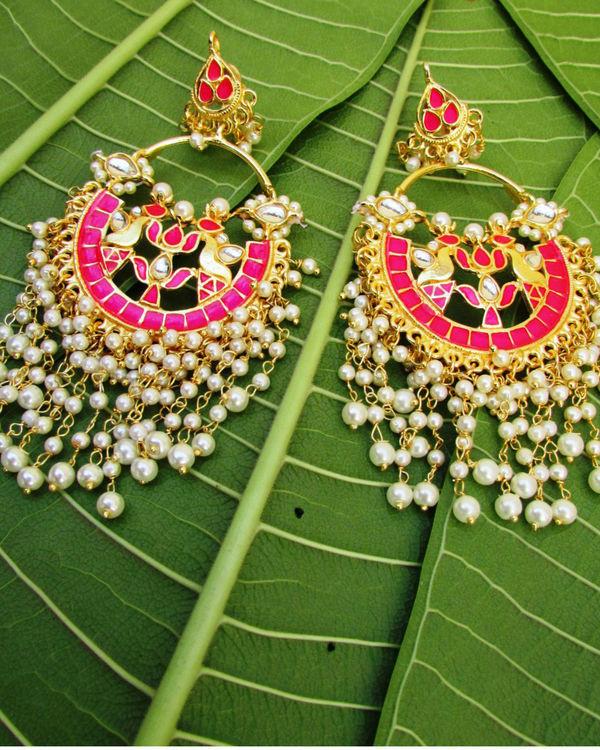 Pink Chandbali with Pearl Hangings