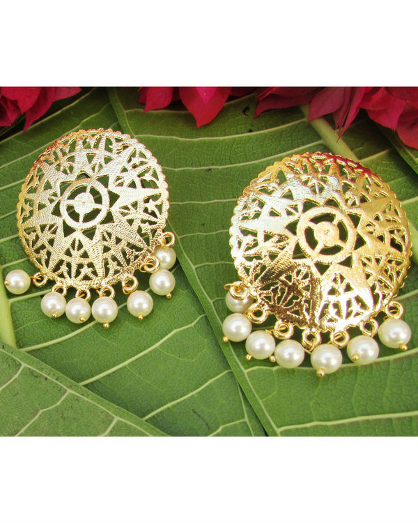 Golden Filgeree Earrings with Pearls