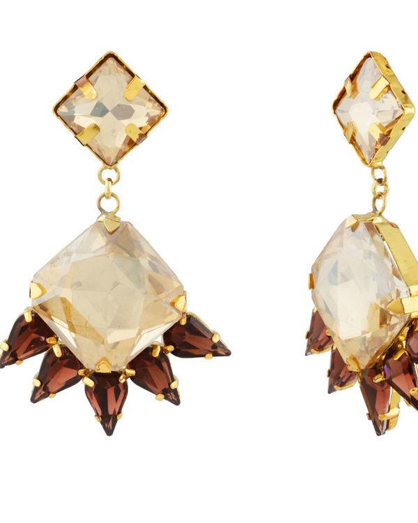 Art Deco Golden Drop Earrings