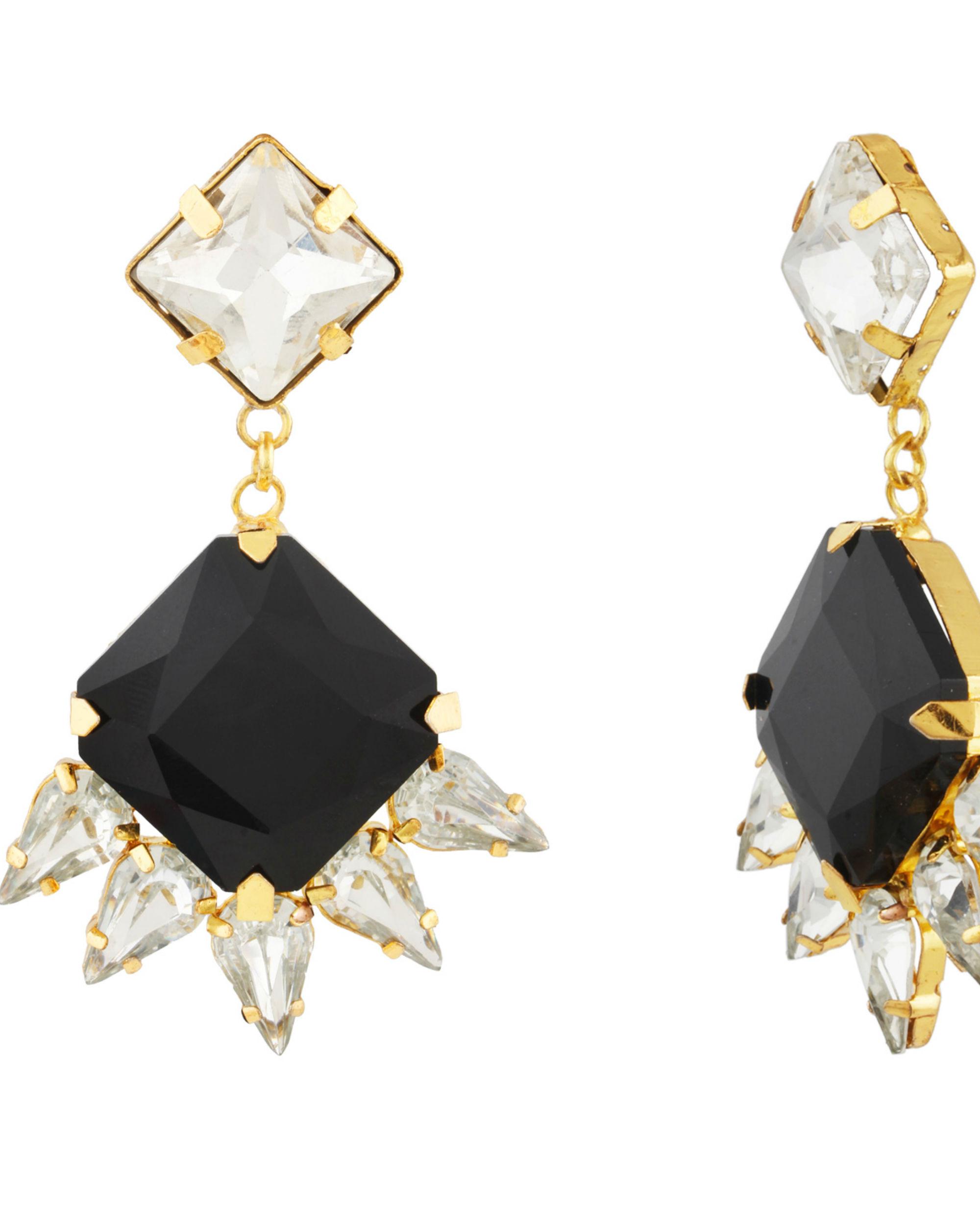 Art Deco Black Crystal Drop Earrings