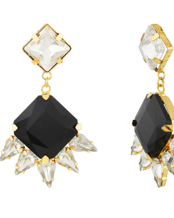Art Deco Black Crystal Drop Earrings