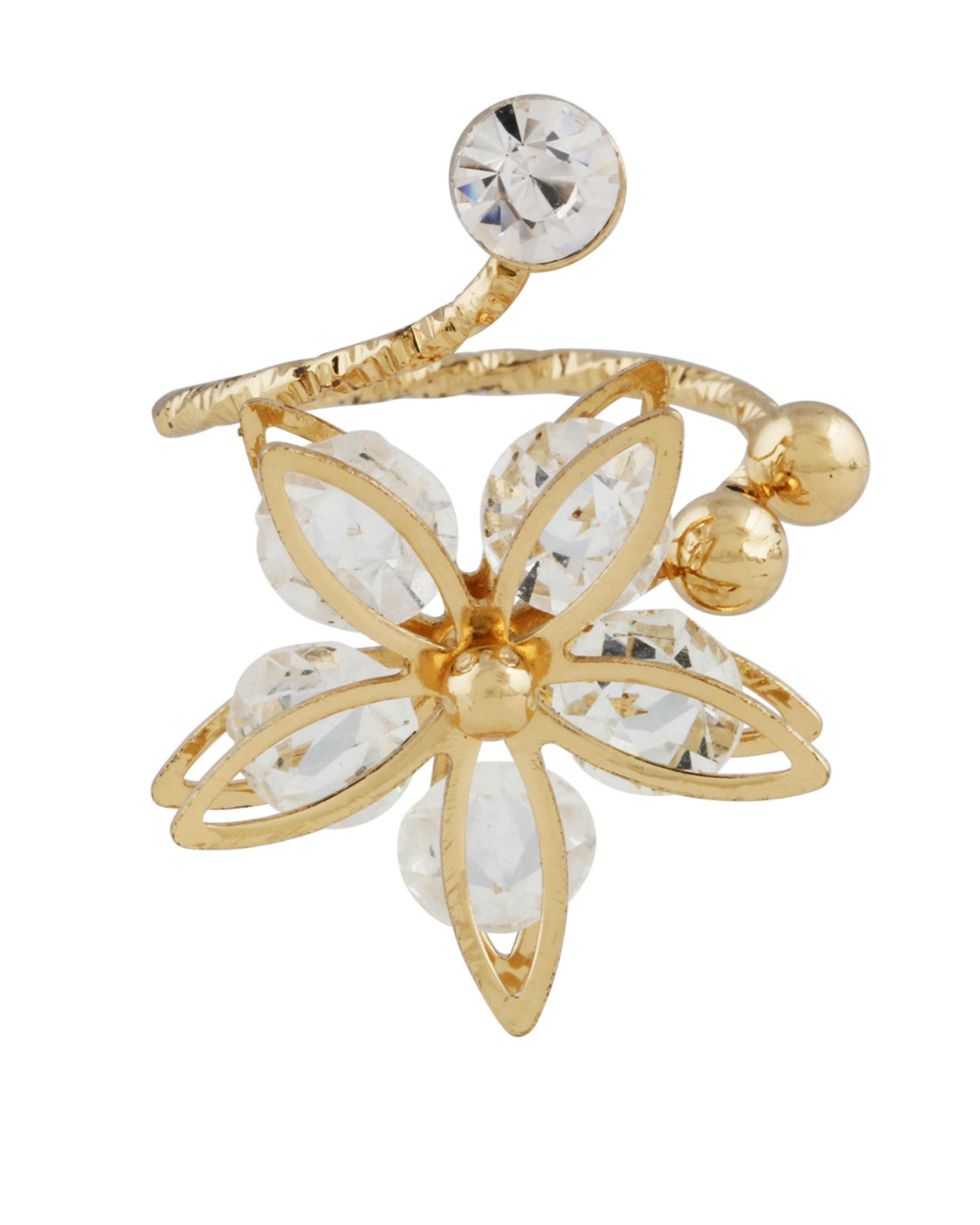 Crystal Floral Spiral Ring