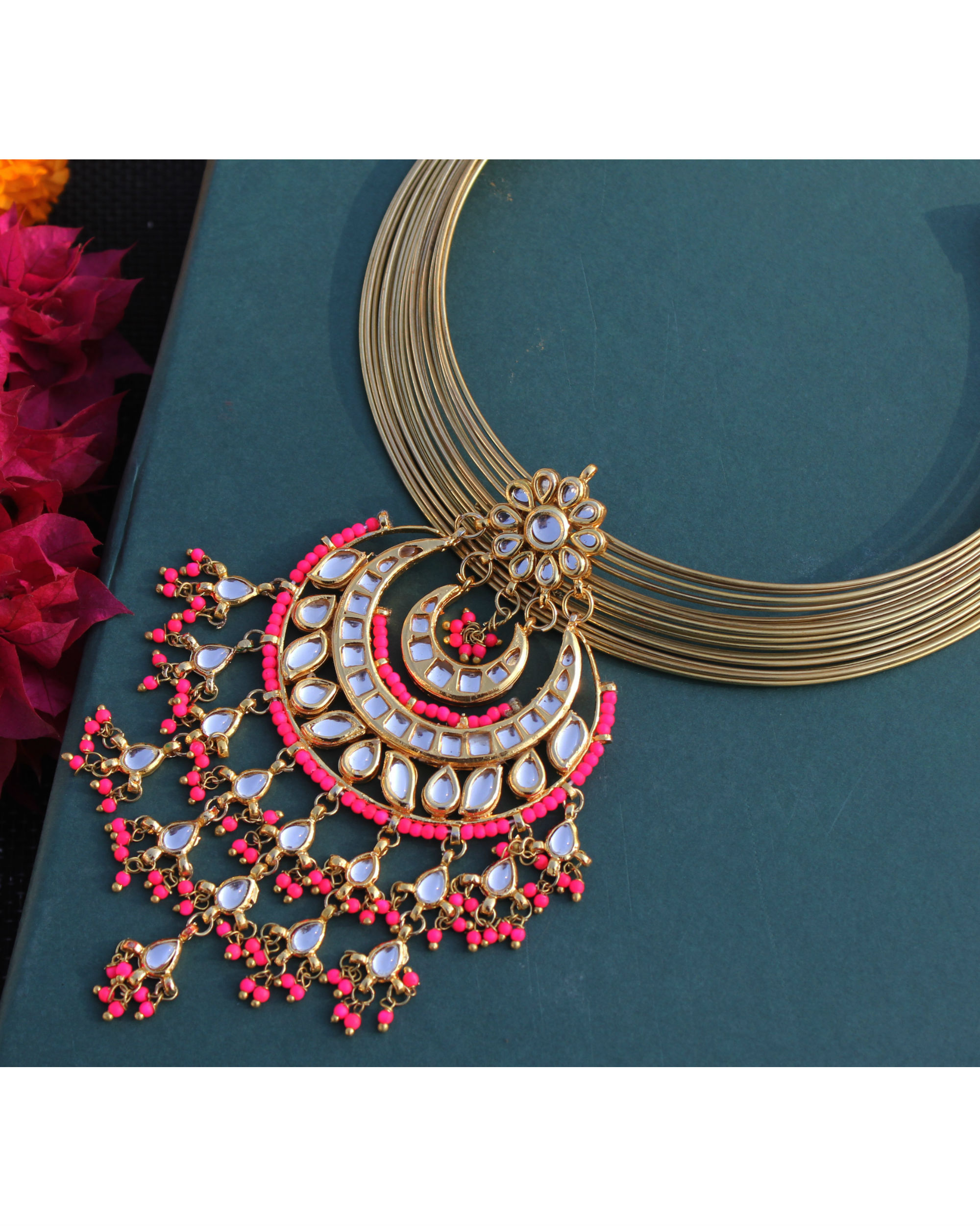 Sonam pink chand choker necklace