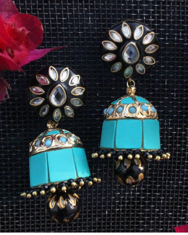 Sia black and turquoise jhumka