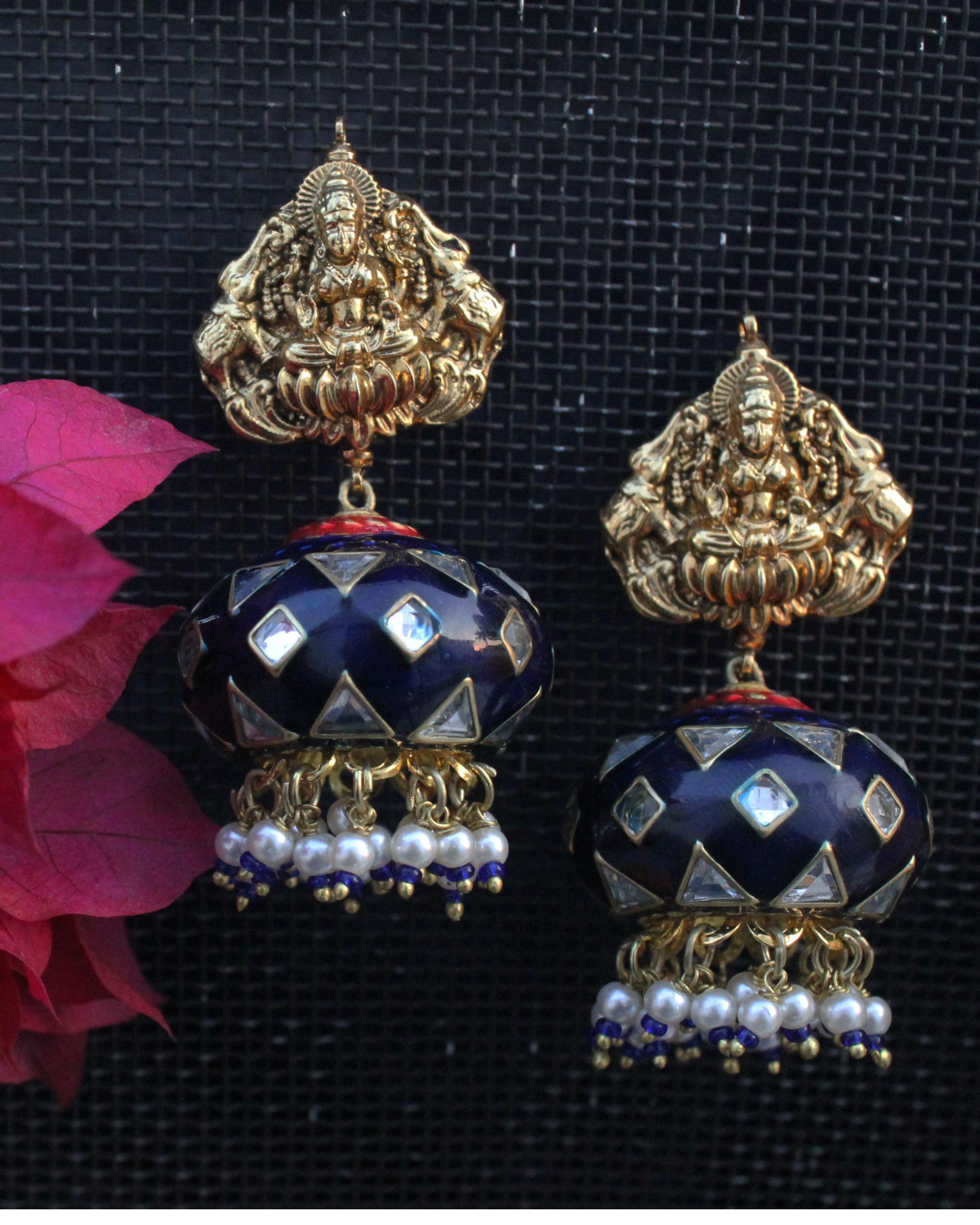 Laxmi blue meenakari jhumka
