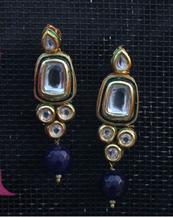 Kundan studs with blue oynx