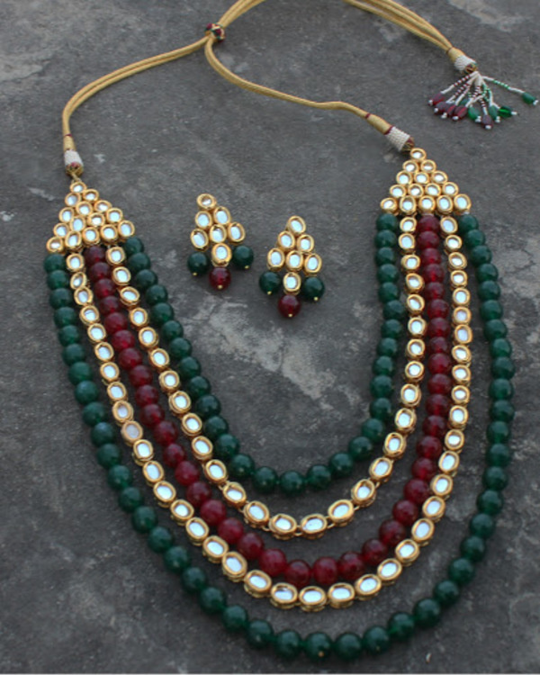Mehreen red and green oynx and kundan long necklace set