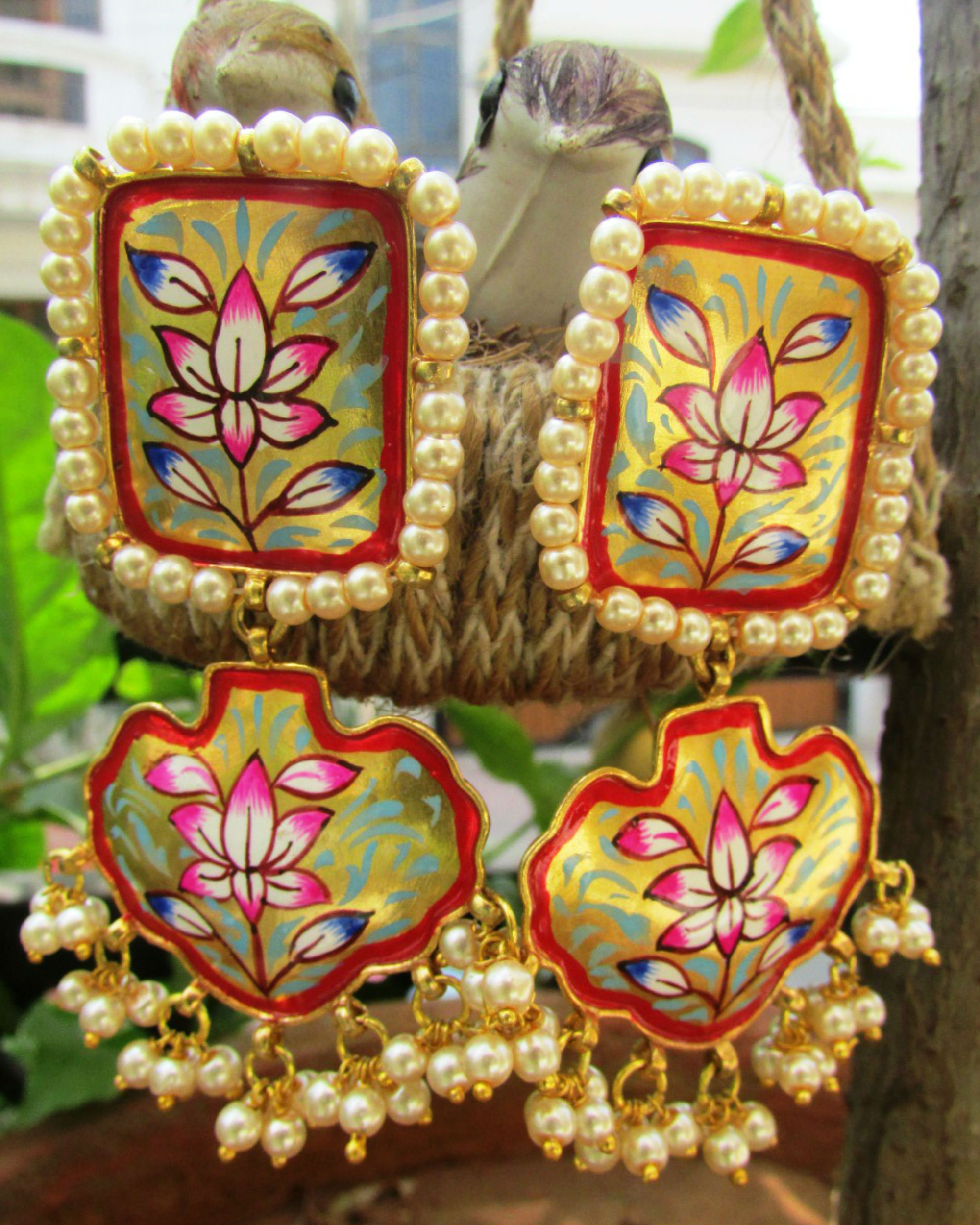 earrings dakini handpainted hand painted wood large product