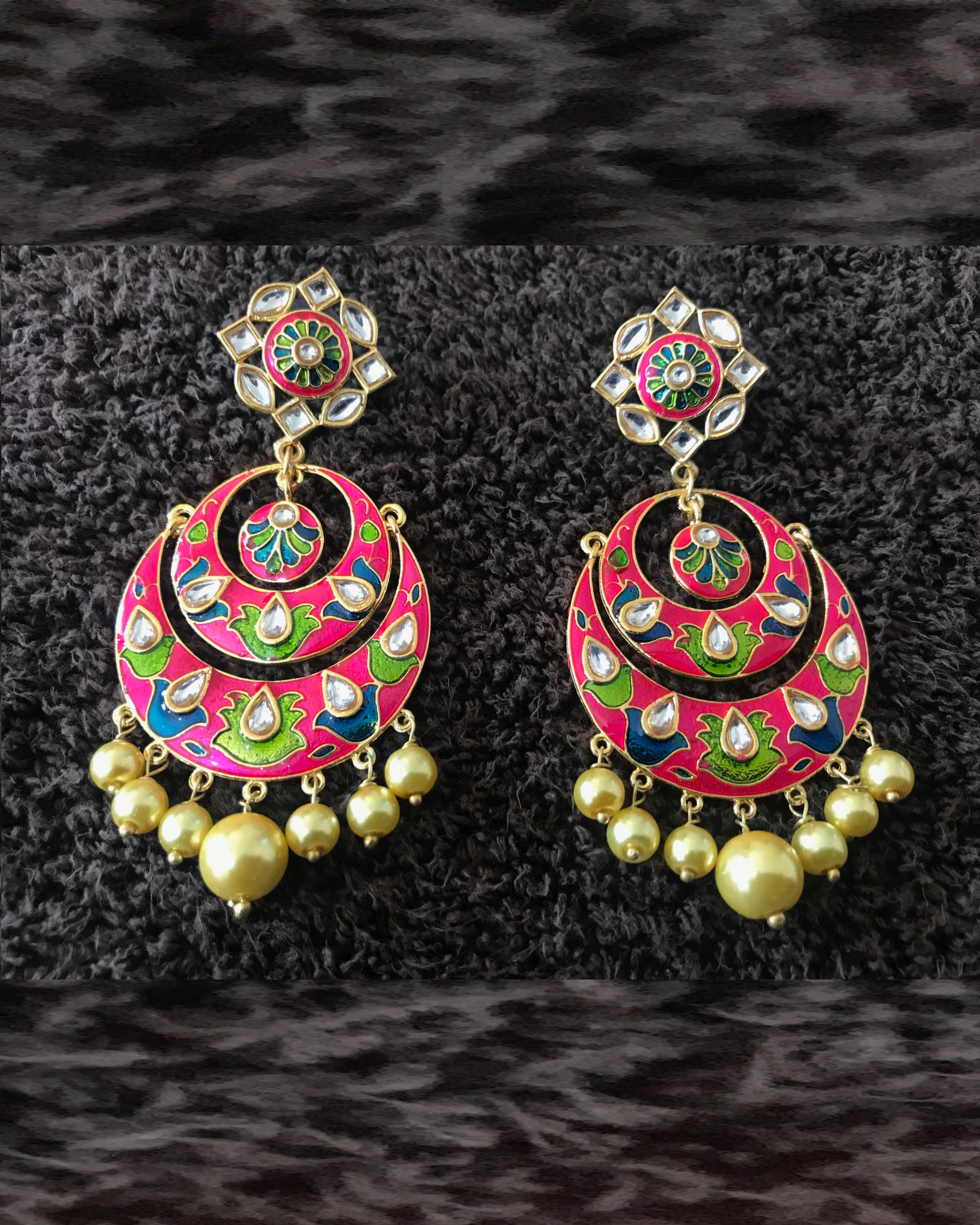 Pink and Green Crescent Earrings