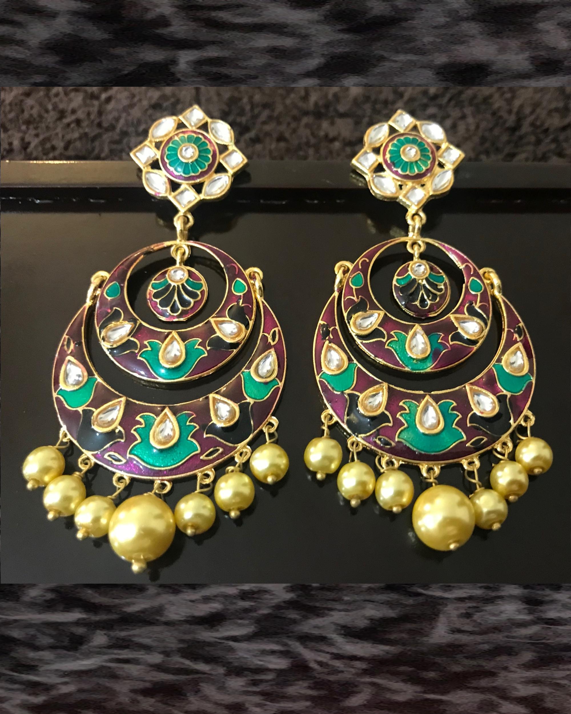 Brown Crescent Stud Earrings