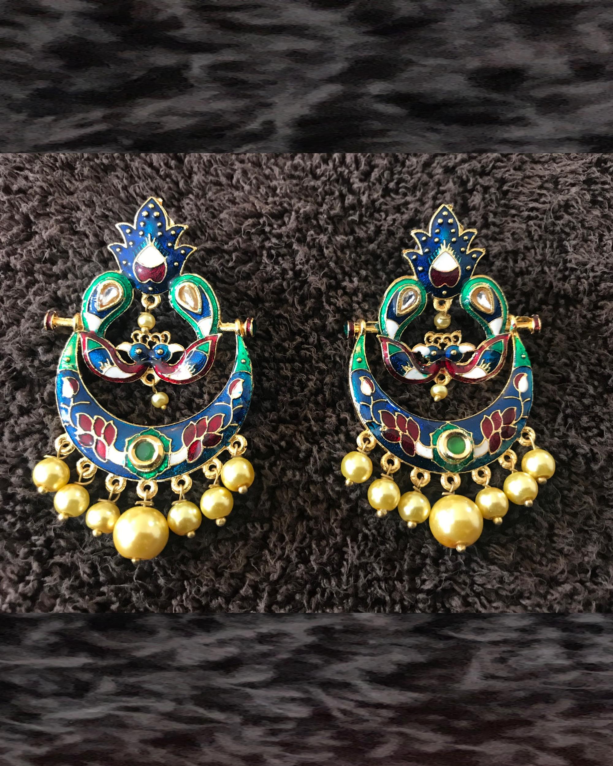 Gold Peacock Chandbalis