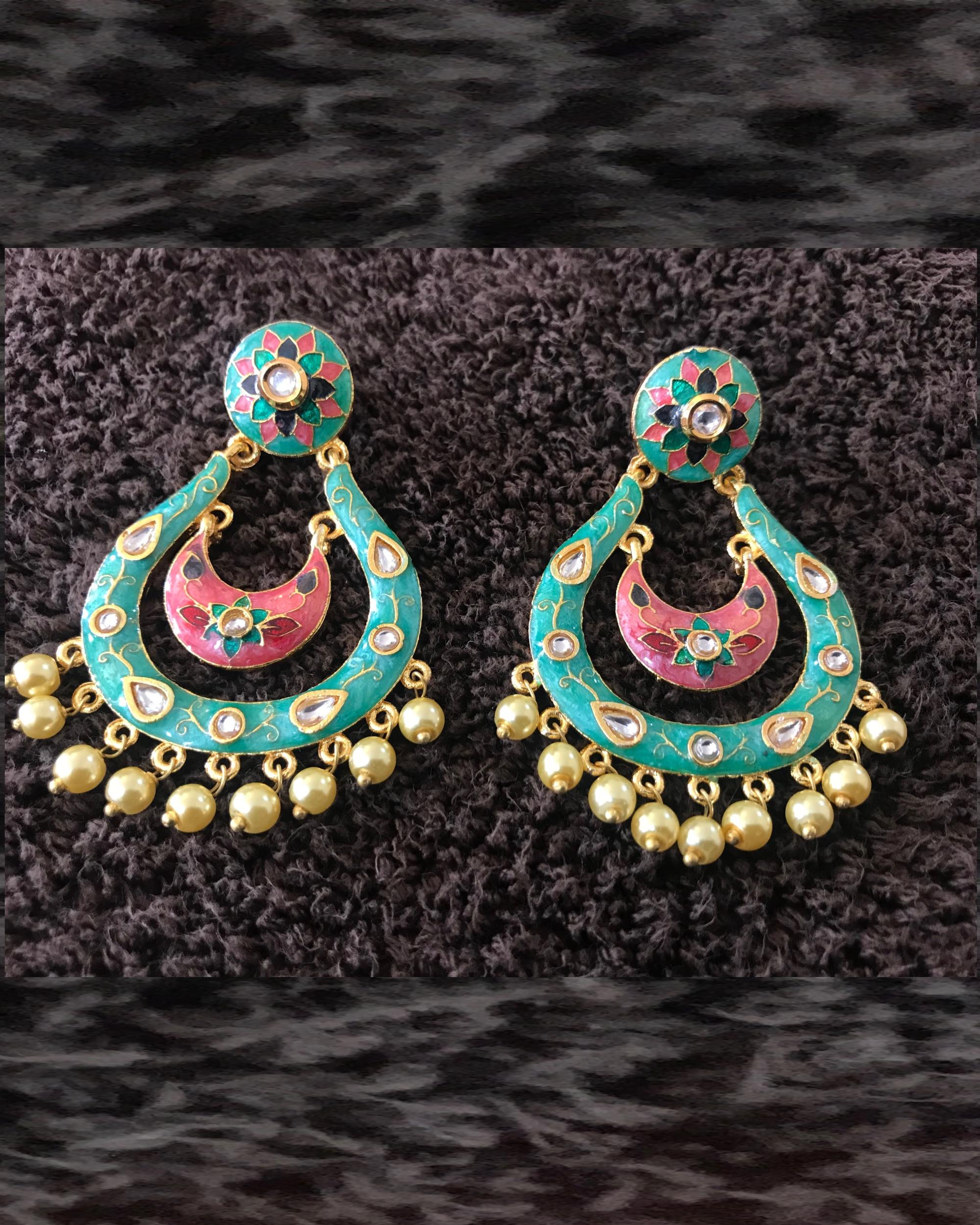 Turquoise Studded Chandbalis