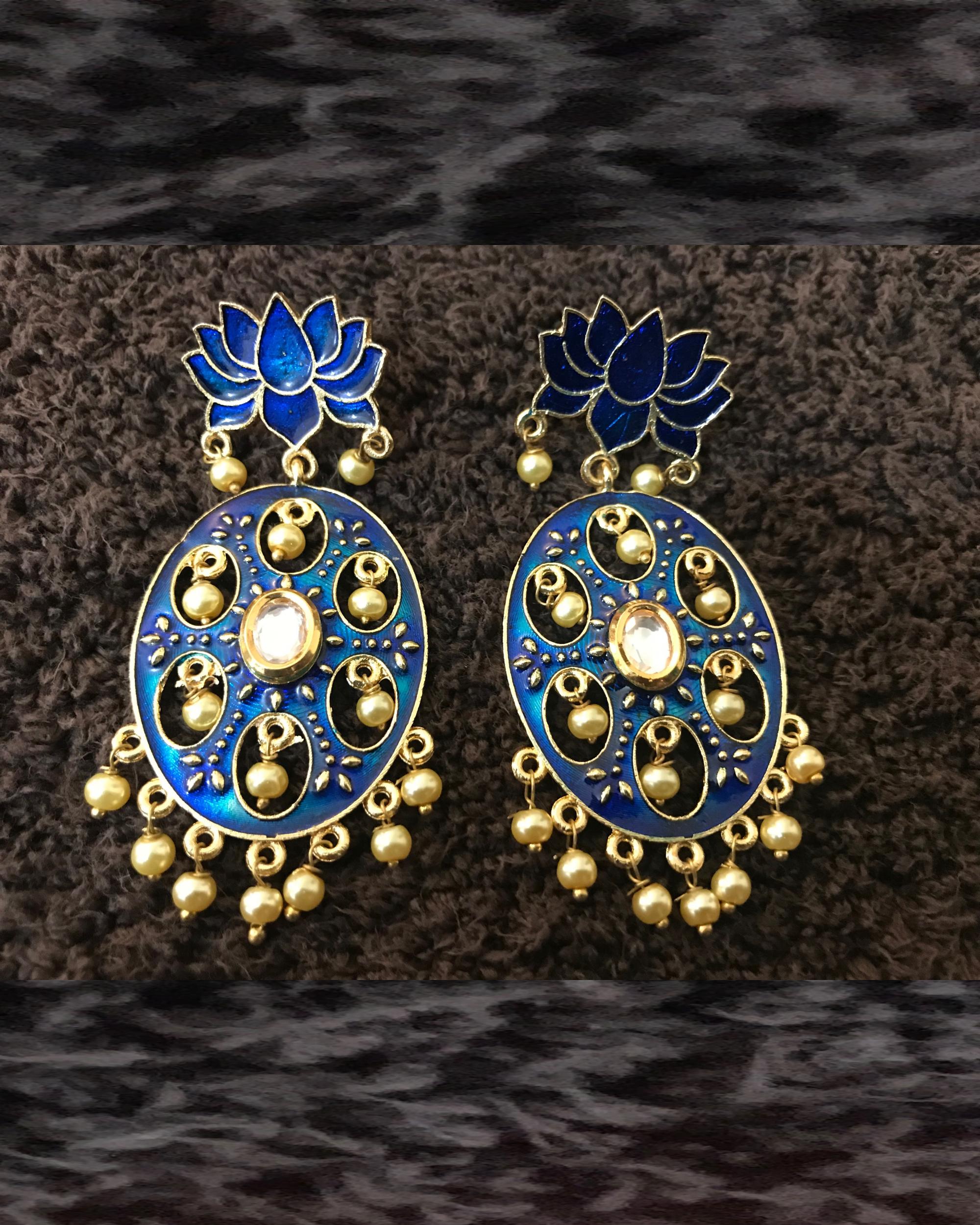 Blue Lotus Pearl Earrings