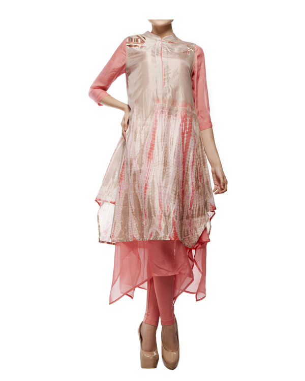 Shibori dyed tunic with  chiffon layer, comes with a legging
