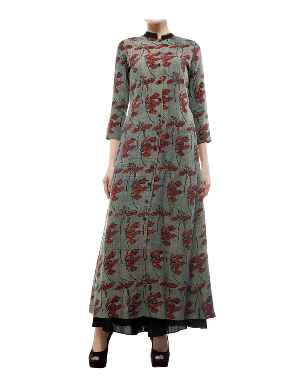 Leaf print long tunic