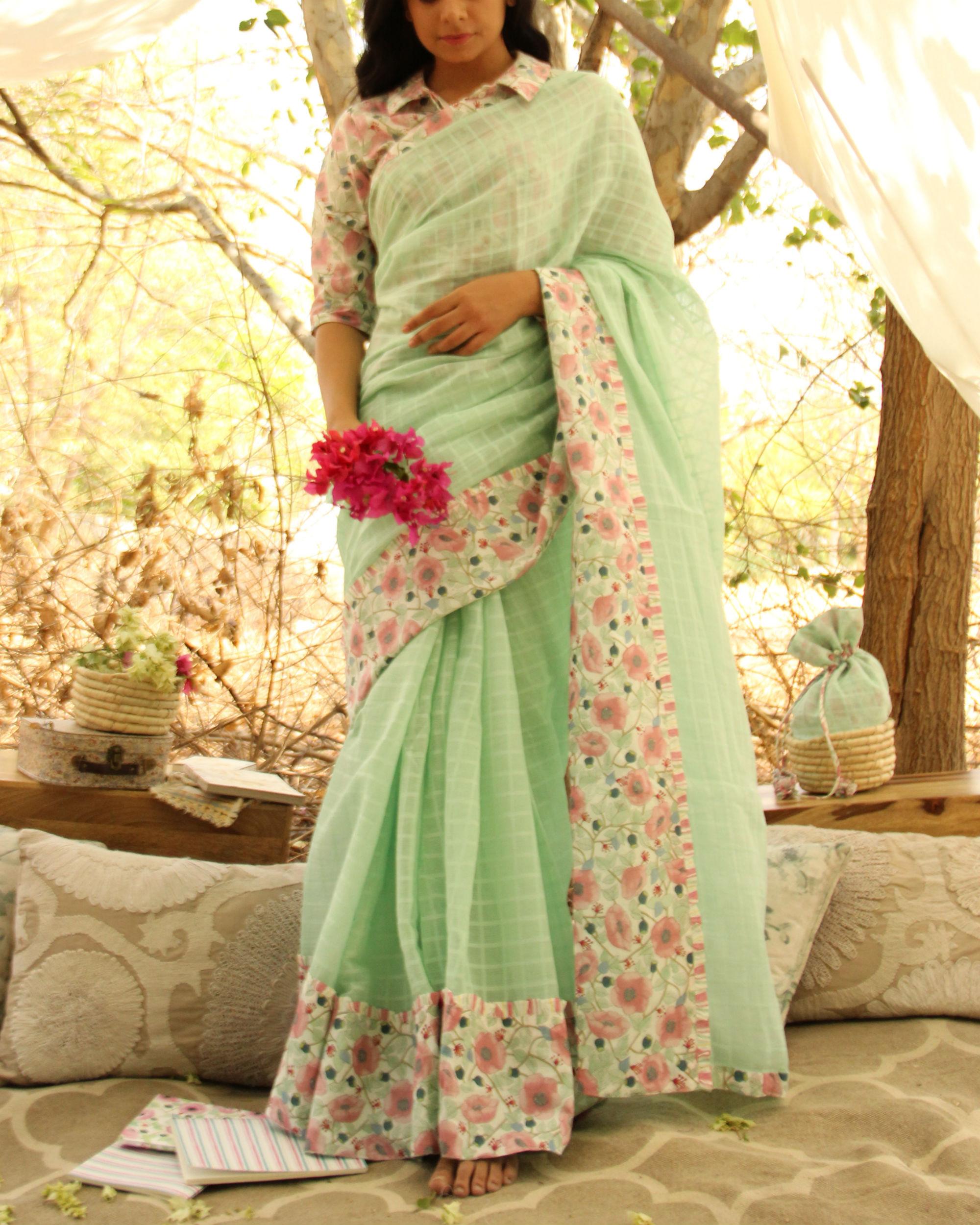 Floral Mint Sari