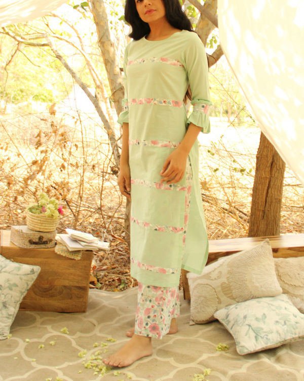Mint Flush Kurta Set