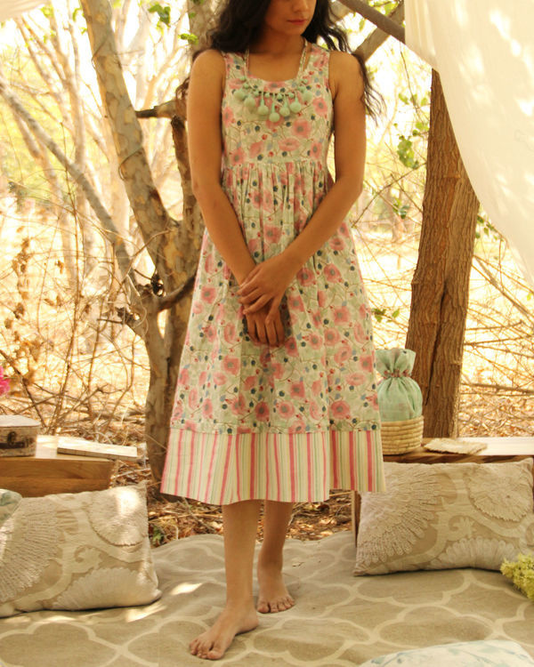 Mint Green Floral Striped Dress