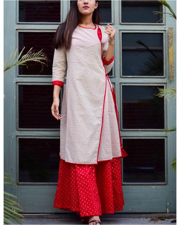 Offwhite Layered Angrakha Dress