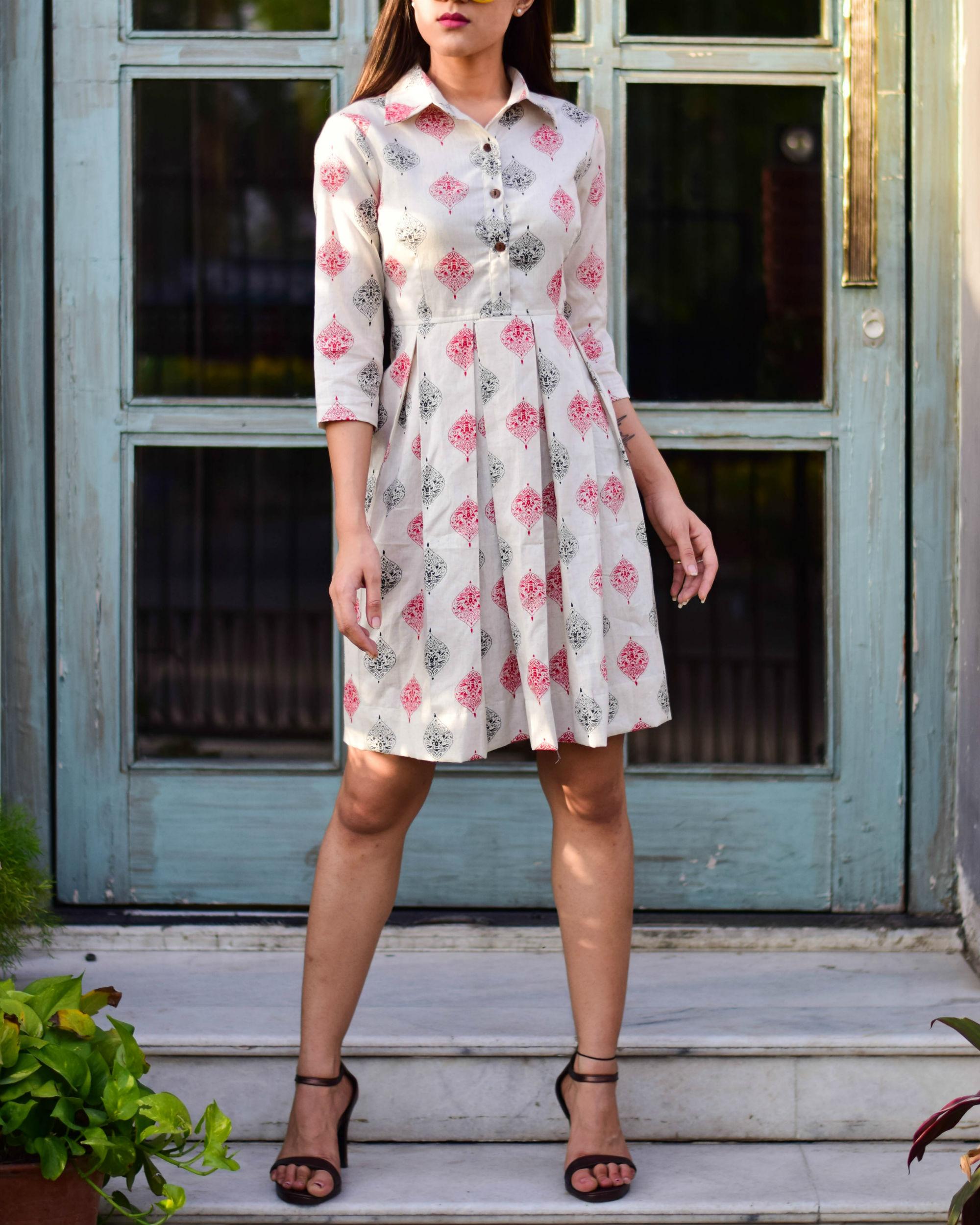 Offwhite Printed Shirt Dress