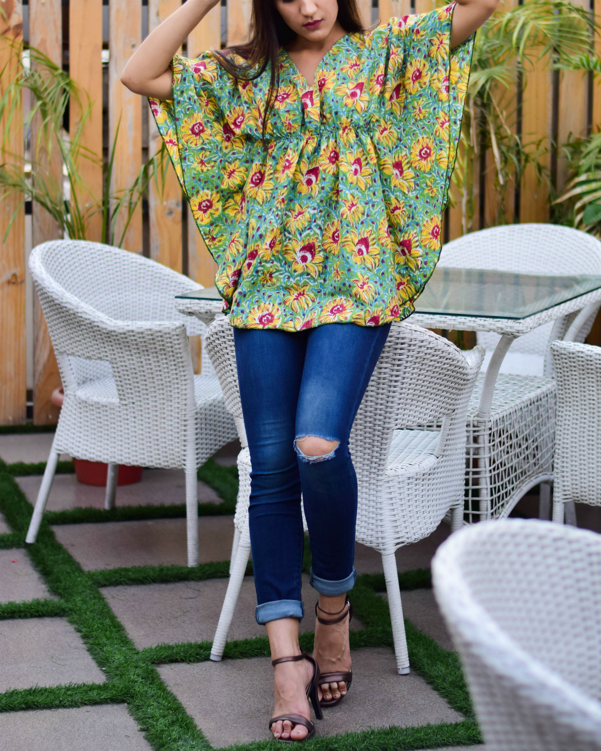 Green Butterfly Kaftan Top