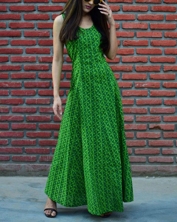 Green Geometric Print Dress