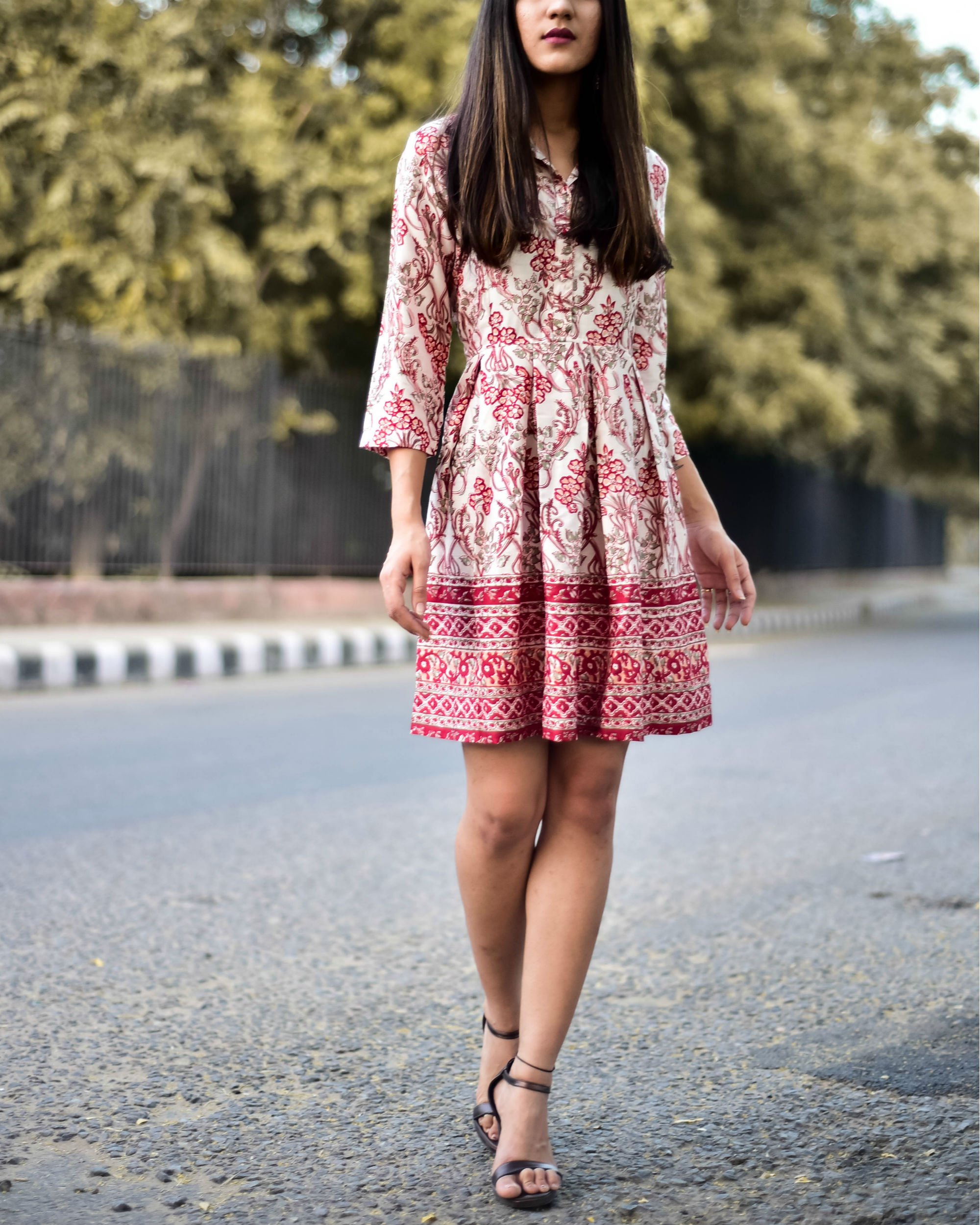 Rayon Red Floral Shirt Dress